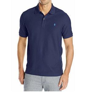 IZOD Mens Slub Short Sleeve Polo Shirt Peacoat